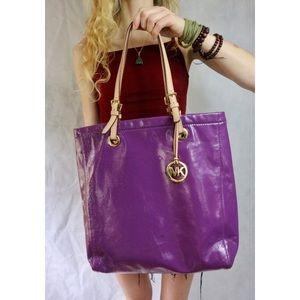 Michael Kors Purple Shiny Leather Shoulder Tote !